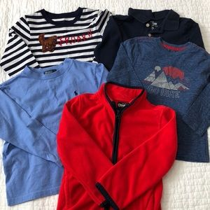 Boys T-shirt bundle w fleece jacket, lot of 5, 4T